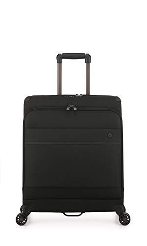 Antler Stirling Lie-Flat, Durable & Lightweight Soft Shell Suitcase - Colour: Black, Size: Cabin