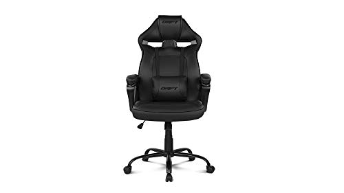 Drift DR50B- Silla Gaming Profesional, polipiel, reposabrazos acolchados, piston clase 4, asiento basculante, altura regulable, cojín lumbar, color Negro