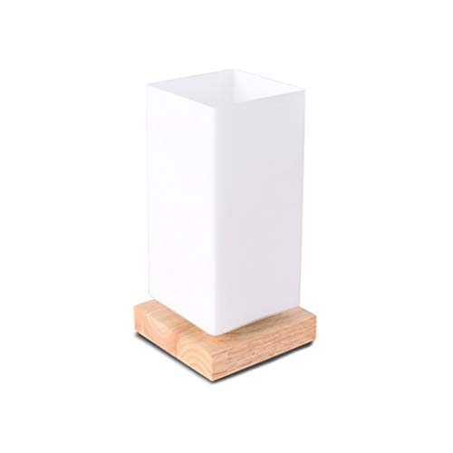 Cuboid Minimalist dimmbare Tischleuchte Mattglas-Massivholz-Nachtlicht-Schreibtisch-Tabellen-Licht-E27 Glühlampe, Weiß (Größe: Dimmer-Schalter) midiao (Color : Push Button Switch)