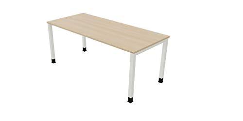 OKA Simply DL8 Schreibtisch Tischbein Eckig mit Kabelmanagment (Eiche-Reinweiß, 200 x 80cm)