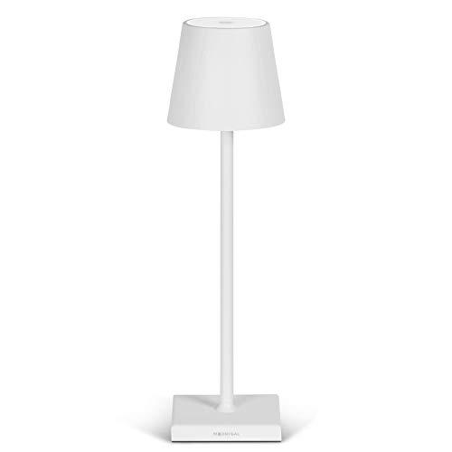 Stilosa - Lampada Ricaricabile da Tavolo - Luce LED Regolabile (Dimmer) con il Tocco - Casa e Ristorante - Lunga Durata - Protezione IP54 Uso Interno ed Esterno - Bianco Opaco
