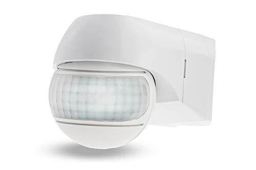 HUBER Motion 3 Eck, Bewegungsmelder 220°, weiß, hochsensibel durch 2 Sensoren, Kopf horizontal und vertikal einstellbar, Wand und Eckmontage, IP44 Spritzwasser geschützt