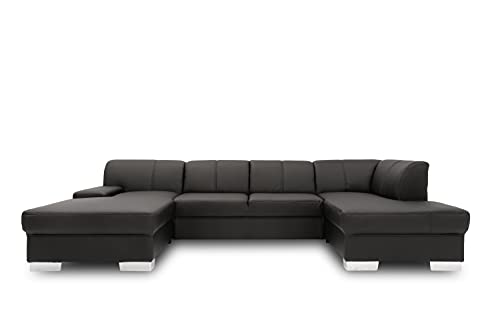 DOMO collection Star Wohnlandschaft, U-Form, Polstergarnitur, Sofa, Couch 150 x 304 x 150 cm in weißem Kunstleder