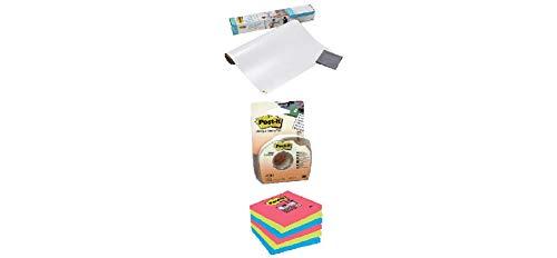 Post-it Super Sticky Dry Erase Film + 3 M Masking and Labelling Tape Post-It in Dispenser + Post-it Super Sticky Notes Bora Bora Collection 654-SSJP-P5+1-EU – Selbstklebende Haftnotizzettel