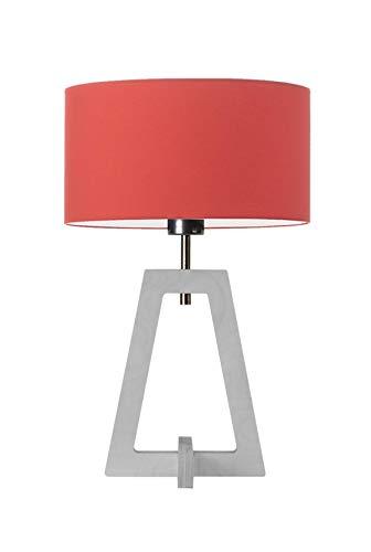 CLIO - Lámpara de mesita de noche con pantalla de color rojo y marco blanco