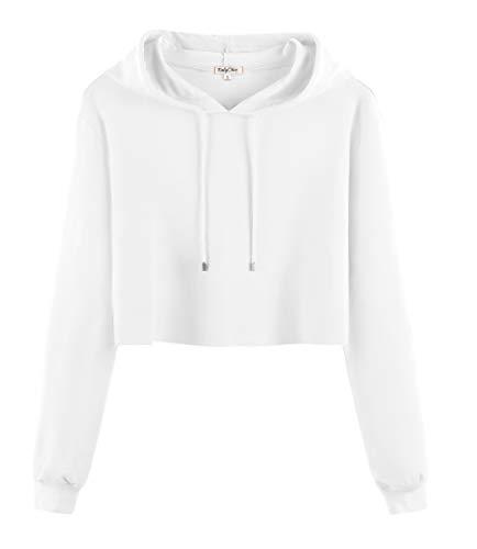 KalyChic Womens Long Sleeve Crop Hoodie Top Casual Loose Sweatshirt White S