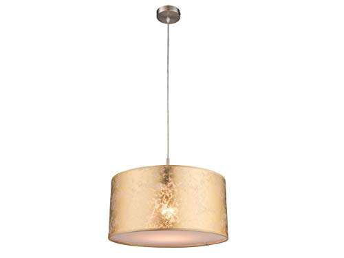 Pendelleuchte AMY Ø 40cm mit dimmbarem LED, Lampenschirm Textil goldfarbig mit Acrylabdeckung, Globo Lighting