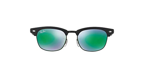 Ray-Ban Unisex Clubmaster Junior Sonnenbrille, Schwarz (Gestell: Schwarz, Gläser: Grün Flash 100S3R), Small (Herstellergröße: 45)