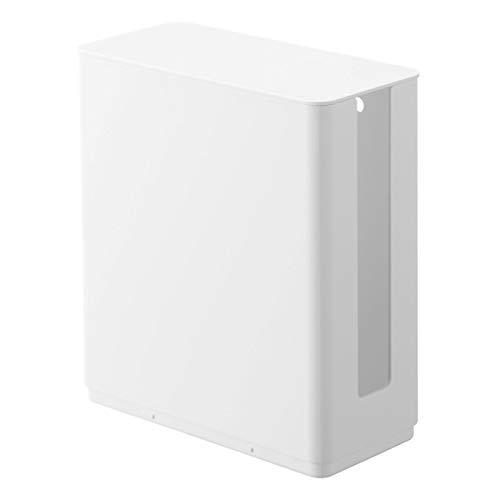 山崎実業(Yamazaki) 重ねられるスリム蓋付きルーター収納ケース ホワイト 約W9.7XD20.2XH22.2cm スマート テレビ裏収納 スタッキング可 4913