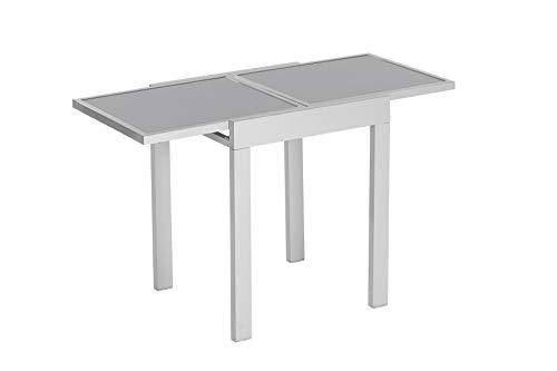 MERXX Balkontisch aus Aluminium und Glas, ca. 65/130x65x75 cm, ausziehbar
