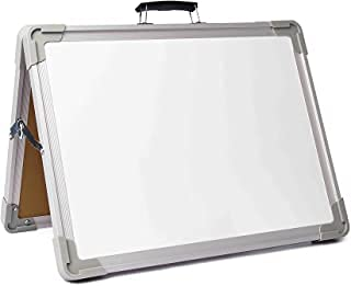 """Foldable dry erase board, 3 Black markers, 2 Magnets, Small Whiteboard,12""""x16"""" Magnetic Portable Whiteboard Double Sided Desktop Foldable Classroom Home Office."""