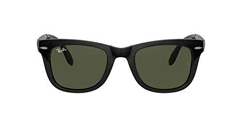 Ray-Ban Unisex Folding Wayfarer Sonnenbrille, (Gestell: Schwarz, Gläser: Grün Klassisch 601), Large (Herstellergröße: 54)