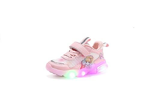 NAIKLY Niños Dibujos Animados LED Luz Luminoso Deporte Princesa Impresión Zapatillas Zapatillas Niños Bebé Niños Chicos Casual Correr Zapatos Slip en Zapatillas Zapatillas Zapatillas De Zapatillas De