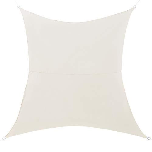 [en.casa] Toldo Vela de Sombra para jardín - Sombrilla - Parasol - Repelente al Agua Rectangular 2,5m x 5m Color Arena