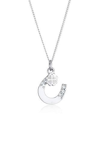 Elli Collares Plata Esterlina 925 Bañada en Oro con Cristales Collar Colgante Herraduras Talismán