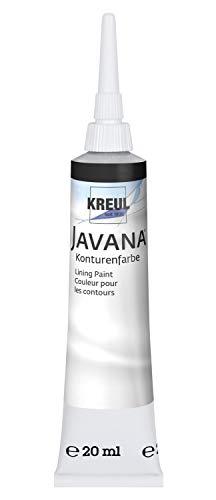 Kreul 815120SB - Javana Seidenmalerei Konturenfarbe für Stoffe, 20 ml Tube mit Feinspritzdüse, schwarz
