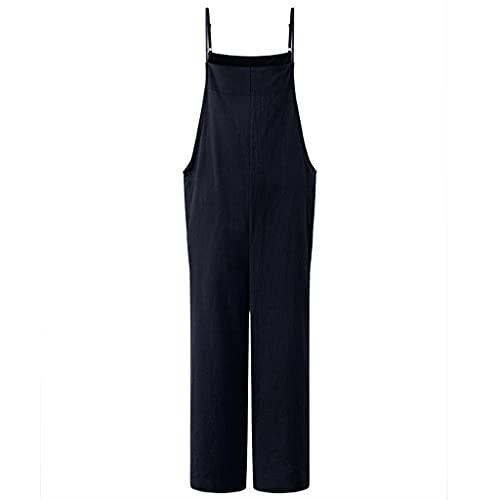 GFDFD Moda Moda Straps Straps Sumpsuits Summer Wide Pierna Pantalones Pantalones Sueltos sólidos Damas Casual (Color : Blue, Size : Lcode)