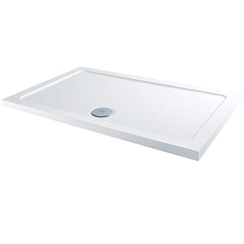 Milano Lithic – White Low Profile Rectangular Shower Tray – 1100mm x 800mm