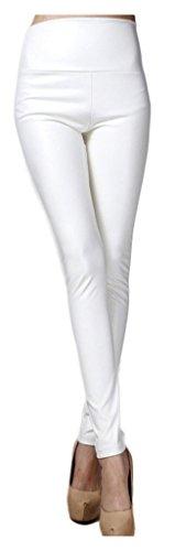 Lotus Instyle dick Hohe Taille Kunstleder Leggings Frauen Lederhose-White M