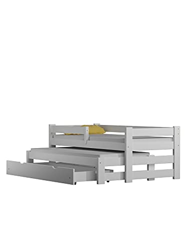 Children's Beds Home - Cama nido - Gabriel para niños niños pequeños - Tamaño 180x80, Color Blanco, Cajón Sí, Colchón 11 cm Espuma/Coco/Alforfón