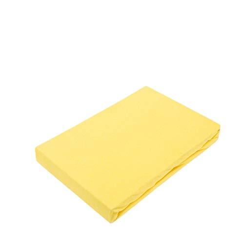 Exklusiv Heimtextil - Sábana bajera ajustable con goma elástica en todo el contorno, 100 % algodón, amarillo, 120 x 200 cm
