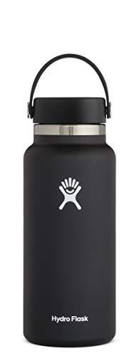 Hydro Flask Flex Cap Flask, 18/8 Stainless Steel, Black, 946ml (32oz)