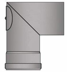 LANZZZAS Pellet pellet rookpijp pelletkachel pijp 90° boog eenmaal gebogen (punthaak) met reiniging kleur zwart Ø 80 mm