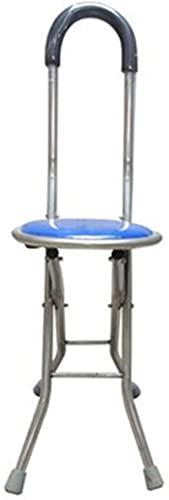 JYHJ Muletas para adultos, silla de paseo de acero inoxidable con respaldo de cuatro patas, taburete de caña de caminar para personas mayores