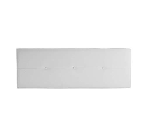Cabecero de Polipiel o Tela AQUALINE Pro cabeceros Cabezal tapizado Cama Lujo (Polipiel Blanco, 135cm (Camas 120/135/140))
