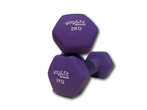 Yog&Fit- Conjunto de Mancuernas Hexagonales de Neopreno con peso de 2Kg/Ud (Morado) 2Uds