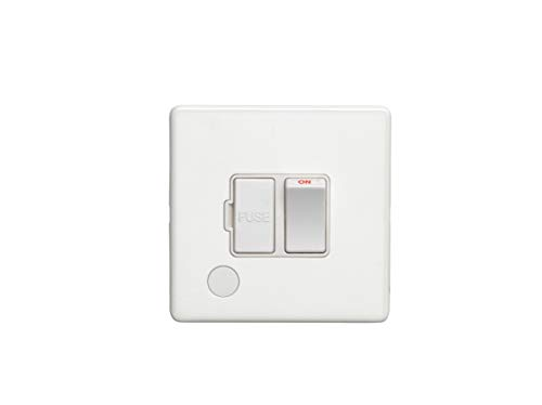 13Amp Unswitched Fuse Spur with Flex Outlet Flat Concealed White Plate White Interior
