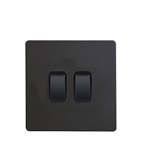 LOYAL TECHNOLOGY-PACKAGE 2 Interruptor de luz de pandillas y AC220~250V Color Negro Panel de Acero Inoxidable de 2 vías Interruptor de Pared con Doble pulsador Doble Fácil instalación
