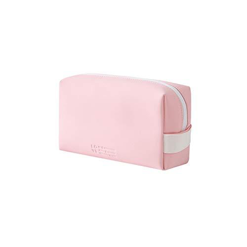 WUCHENG PU Cuero Lady Zipper Cosmetic Bag Amplio Capacidad Portátil Multifuncional Cosmética Bolsa de Almacenamiento de Viajes Bolsa de Almacenamiento Bolso de tocador (Color : Pink)
