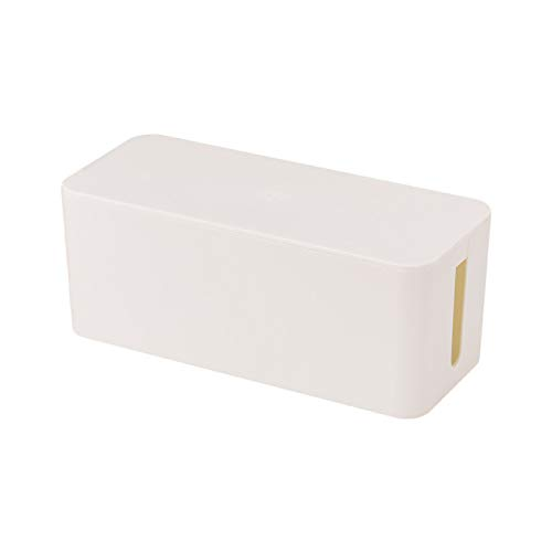 HUANGDANSEN Caja de Cable Caja de Almacenamiento de Cables Toma de Corriente Cable Blanco Negro Caja de Almacenamiento ordenada Interruptor de Encendido para Caja