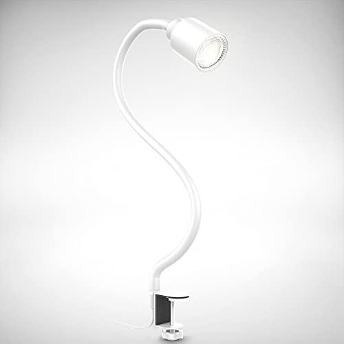 B.K.Licht Lampada LED da tavolo con morsetto, inclusa lampadina GU10 5W, luce calda, orientabile, interruttore a levetta, collo di cigno, lampada piccola da comodino o scrivania, metallo bianco