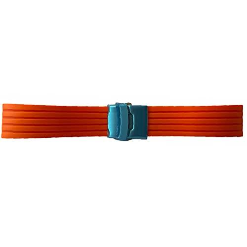 Buzzufy Correa de reloj de silicona naranja chrono con cierre de 20 mm