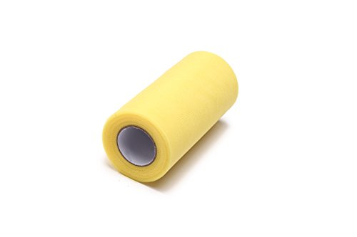 Glitter Tulle Roll Spool Tutu Skirt Fabric Wedding Party Gift Bow (Lemon Yellow, 6 inch x 25 Yards)