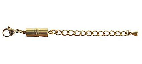 SELVA 344356 - Cierre magnético con mosquetón y Cadena de extensión - Material: Plata de Ley 925 chapada en Oro - Adecuado para Todas Las Cadenas - Una extensión Inteligente -