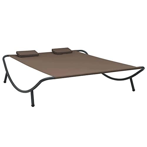 vidaXL Outdoor Loungebett mit 2 Kissen für 2 Personen Doppelliege Gartenliege Relaxliege Sonnenliege Liege Gartenmöbel Stoff Braun