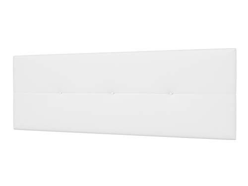 LA WEB DEL COLCHON - Cabecero Tapizado Génova para Cama de 150 (160 x 55 cms) Blanco | Cama Juvenil | Cama Matrimonio | Cabezal Cama | Cabeceros tapizados Dormitorio