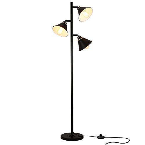 Rayofly Lámpara de pie vintage orientable 180° con 3 focos e interruptor, lámpara de pie industrial, E27, 160 cm, lámpara de lectura retro para salón, dormitorio, oficina