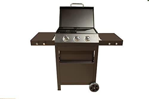 Barbacoa de Gas, BBQ con ruedas con 3 Quemadores, Plancha y Parrilla de Acero Estampado, 2 Mesas Laterales
