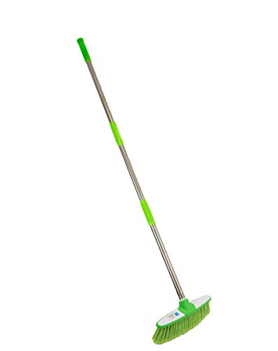 Soft Broom Indoor Sweeping Broom Brush with Stainless Steel Handle - The Perfect Indoor Sweeping Kitchen Floor Brush Broom for Your House - The Long Handled Brush Sweeper Broom (Green)