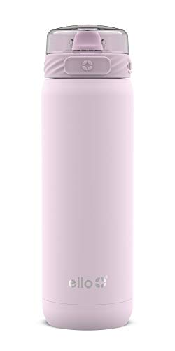Ello Cooper Vacuum Insulated Stainless Steel Water Bottle with Anti-Microbial Silicone Straw, 22 oz, Cashmere Pink