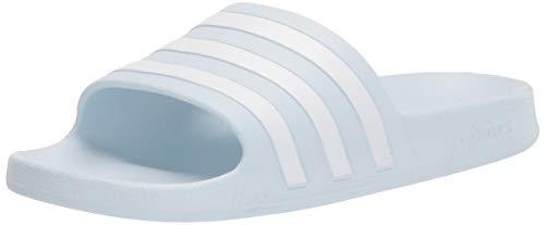 adidas Women's Adilette Aqua Slide Sandal, Halo Blue/White/Halo Blue, 9