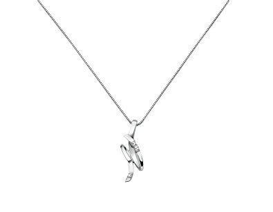 Miluna - Collar de Oro Blanco con Colgante de 3 Diamantes 0,015 Tot.