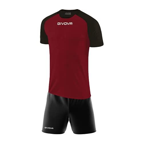 Perseo Sport Kit Calcio Givova Capo Completo Maglia e Pantaloncino Calcetto Volley Fitness (L, Granata/Nero)