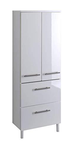 Held Möbel 231.2096 Parma Midischrank , 2 türig / 2 Auszüge / 2 Einlegeböden / 50 x 130 x 27 cm, Hochglanz-weiß