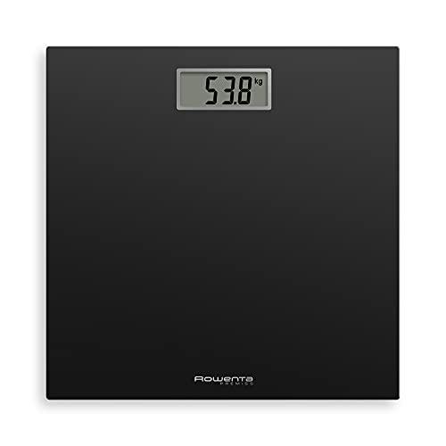 Rowenta Báscula de baño Premiss BS1400 - Báscula de Baño con Pantalla LCD, de diseño fino de 2.2 cm de alto, hasta 150 kg y 100 gr de precisión, encendido y apagado automático, Negro