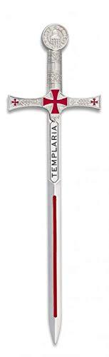 Mini Espada Toledana Modelo Templario Color Plata | Abrecartas réplica de Espada de Toledo 17.4cm